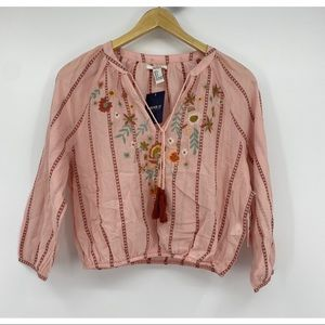 Forever 21 embroidered tassel peasant boho top
